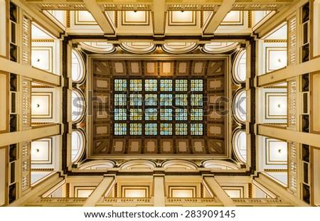 ST. LOUIS, MISSOURI - MAY 28: Atrium inside Old City Hall on Market Street on May 28, 2015 in St. Louis, Missouri  - stock photo