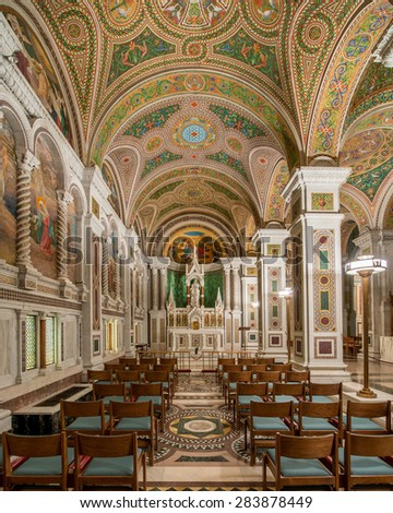 ST. LOUIS, MISSOURI - MAY 27: Blessed Virgin's Chapel in the Cathedral Basilica of Saint Louis on Lindell Boulevard on May 27, 2015 in St. Louis, Missouri