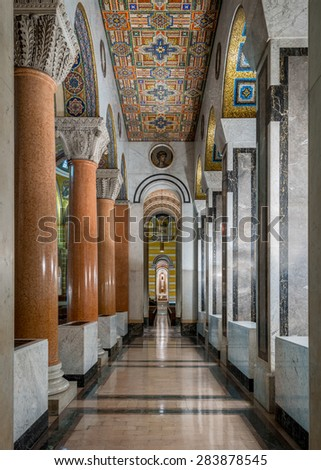 ST. LOUIS, MISSOURI - MAY 27: Corridor in the Cathedral Basilica of Saint Louis on Lindell Boulevard on May 27, 2015 in St. Louis, Missouri - stock photo
