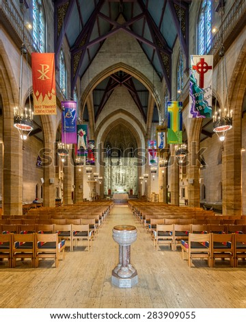 ST. LOUIS, MISSOURI - MAY 28: Interior of the Christ Church Cathedral on Locust Street on May 28, 2015 in St. Louis, Missouri  - stock photo