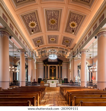 ST. LOUIS, MISSOURI - MAY 28: The Old Cathedral, or Basilica of Saint Louis, King of France on Walnut Street on May 28, 2015 in St. Louis, Missouri - stock photo