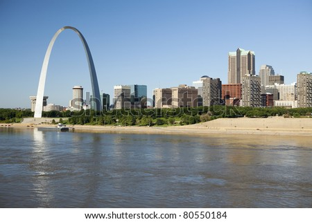 St Louis, Missouri Skyline along the Mississippi River - stock photo