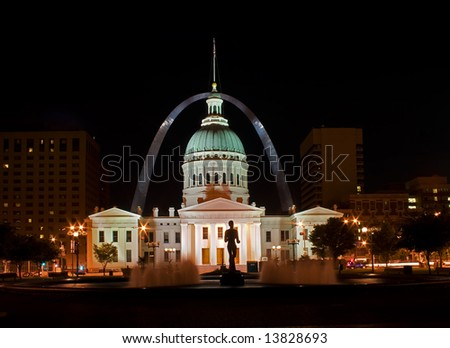 St Louis old court house at night with arch in the background - stock photo