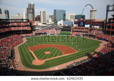 ST. LOUIS - SEPTEMBER 18: Batting practice before a baseball game at Busch Stadium between the Cardinals and Padres, with both teams fighting for a playoff berth, on September 18, 2010 in St. Louis. - stock photo