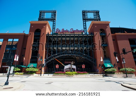 ST. LOUIS - SEPTEMBER 07: Busch Stadium, home of the Cardinals baseball team seen on September 7, 2014. The retro-style Busch Stadium opened on April 10, 2006 with a capacity of 46,000. - stock photo