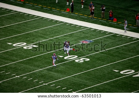 ST. LOUIS - SEPTEMBER 28: Cornerback Terrence McGee (24) of the Buffalo Bills intercepts a pass thrown by St. Louis Rams quarterback Trent Green (not pictured)  September 28, 2008 in St. Louis, MO - stock photo