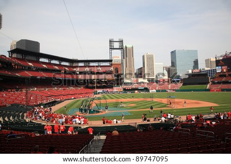ST. LOUIS - SEPTEMBER 18: Practice before a baseball game at Busch Stadium, home of the Cardinals, on September 18, 2010 in St. Louis, MO. Opened in 2006, it seats 43,975 fans and cost $365 million. - stock photo