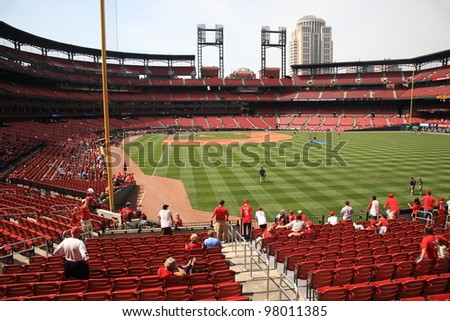 ST. LOUIS - SEPTEMBER 18: Practice before a baseball game at Busch Stadium, home of the Cardinals, on September 18, 2010 in St. Louis, MO. Opened in 2006, it seats 43,975 fans and cost $365 million.