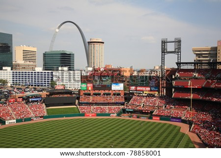 ST. LOUIS - SEPTEMBER 18: The Gateway Arch as seen from Busch Stadium on September 18, 2010 in St. Louis, MO. The Arch stands at 630 feet high, the tallest man-made monument in the United States. - stock photo
