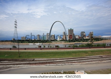 St. Louis Skyline - Gateway Arch and Railroad Tracks