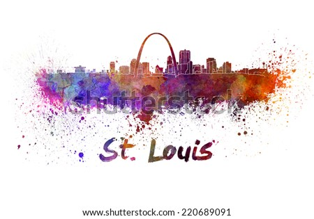 St Louis skyline in watercolor splatters with clipping path - stock photo
