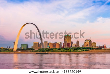 St. Louis skyline panorama including the Gateway Arch - stock photo