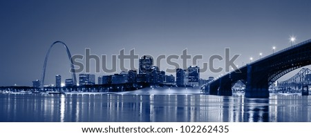 St. Louis skyline panorama. Panoramic image of the St. Louise downtown. - stock photo