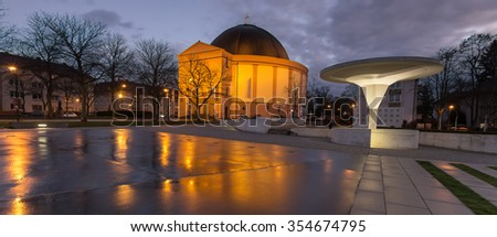 st.ludwig church darmstadt germany at night