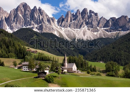 St. Magdalena village, Val di Funes, Dolomites Alps, Italy, Europe - stock photo