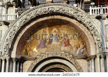 St. Marco cathedral, mosaic on the facade of the temple, Venice, Italy - UNESCO World Heritage Site - stock photo