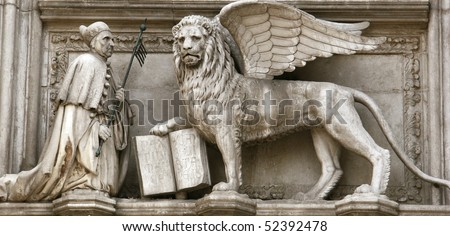 St mark and winged venetian lion in Venice - stock photo