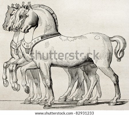 St. Mark Basilica horses old illustration, Venice. By unidentified author, published on Magasin Pittoresque, Paris, 1840 - stock photo