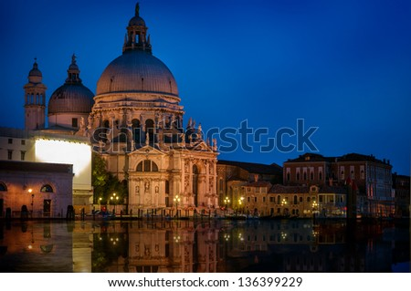 St Mark Basilica in Venice Italy by the Grand canal. - stock photo