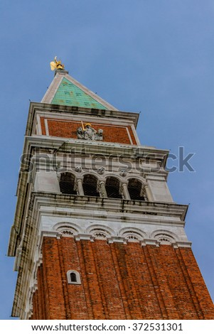 St Mark's Campanile (Campanile di San Marco) - famous bell tower of St Mark's Basilica. Piazza San Marco, Venice, Italy. - stock photo