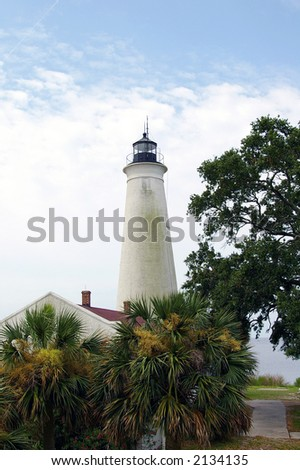 St. Marks lighthouse in northern Florida - stock photo