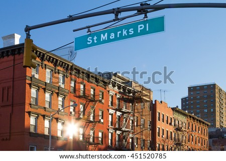 St Marks Place street scene in Manhattan, New York City - stock photo