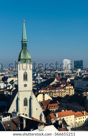 St. Martin cathedral and landscape of Bratislava