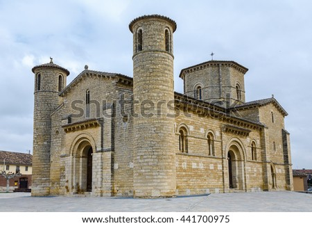 St. Martin Church, in Romanesque style in Fromista, Palencia, Castilla y Leon, Spain - stock photo