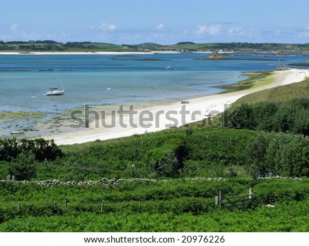 St. Martins, Isles of Scilly middle town beach. - stock photo