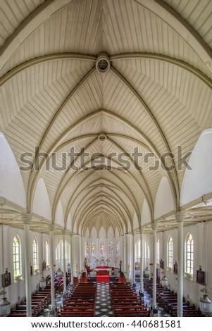 St Mary Cathedral, The biggest Catholic Church in Bogor Indonesia, Built during Colonial Era. Date Taken 24 July 2014 - stock photo