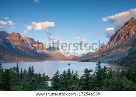 St. Mary Lake and wild goose island in Glacier national park in the morning, MT - stock photo