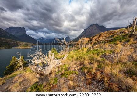 St. Mary Lake - Glacier NP - stock photo