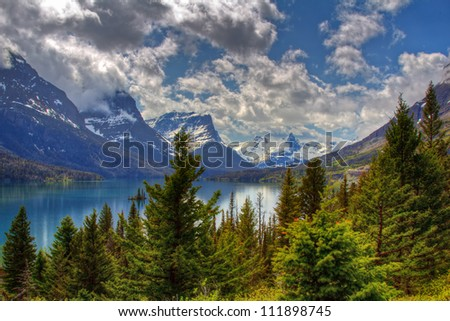 St Mary lake in Glacier National Park in USA - stock photo