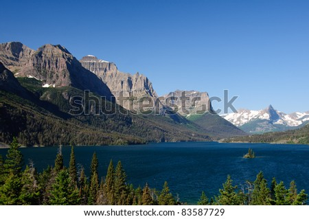 St Mary Lake in the morning in Glacier National Park - stock photo