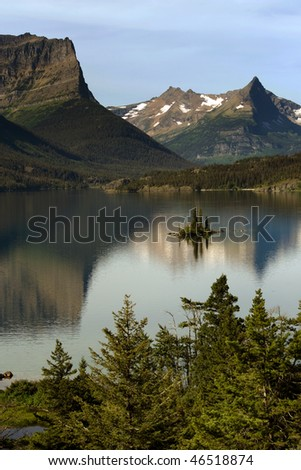 St Mary Lake with Wild Goose Island in Glacier National park - stock photo