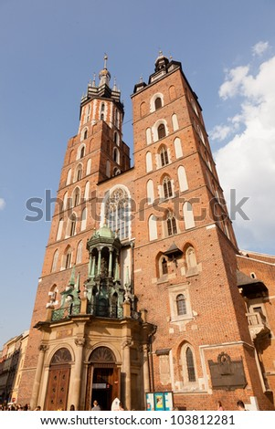 St. Mary's Basilica is a Brick Gothic church re-built in the 14th century (originally built in the early 13th century), adjacent to the Main Market Square in Krak�³w, Poland.