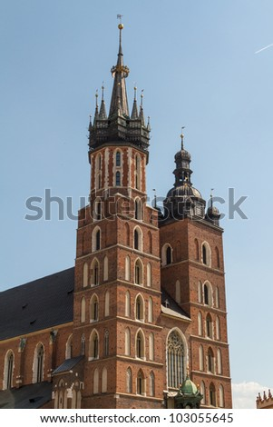 St. Mary's Basilica (Mariacki Church) - famous brick gothic church in Cracow (Krakow), Poland