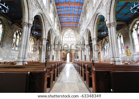 St. Mary's Cathedral Interior at Beverley, England. - stock photo