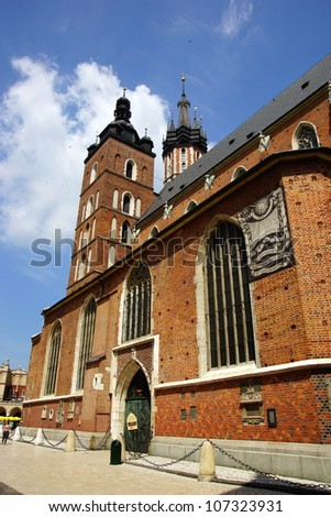 St Mary's Church,Kosciol Mariacki, at the main Market Square in Cracow, Poland