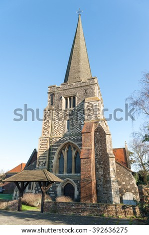 St Mary The Virgin Parish church in Stanwell, UK dating back to the 12th century - stock photo