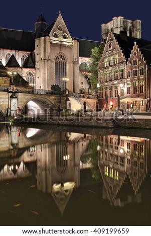 St. Michael's church and bridge at night. Ghent, Belgium. - stock photo