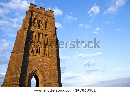 St. Michael's Tower on Glastonbury Tor in Somerset, England.