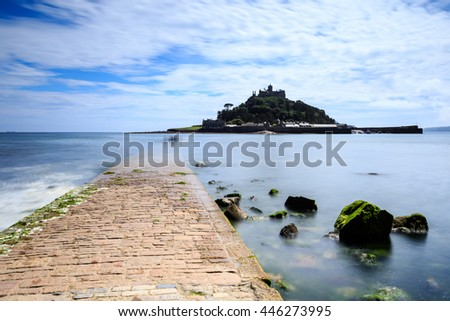 st michaels mount with causeway , Marazion in Cornwall UK. - stock photo