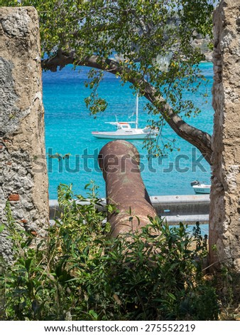 St Michel fort - Curacao a tropical island in the Caribbean - stock photo