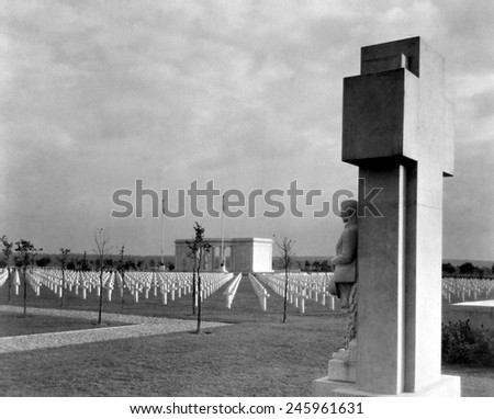 St. Mihiel American Cemetery, near Thiaucourt, France. It contains the graves of 4,153 WWI American soldiers who died in the Battle of Saint-Mihiel fought between September 12_15, 1918. - stock photo