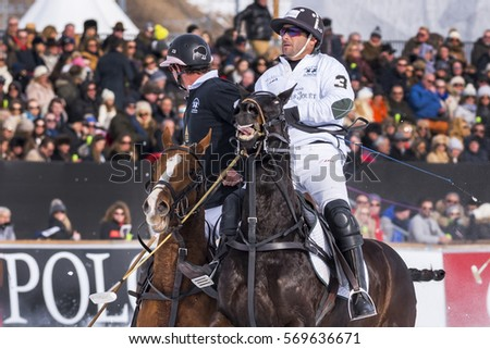 St. Moritz - January 28, 2017:  Game actions  at the Snow Polo World Cup St.Moritz 2017