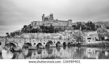 St. Nazaire Cathedral and Old Bridge of Beziers - France - stock photo