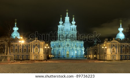 St. Nicholas Cathedral in Saint-Petersburg. Winter night illuminated view.