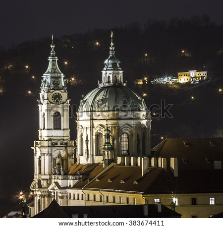 St Nicholas Church in Small Town in Prague City in Czech Republic - Europe Night View - stock photo
