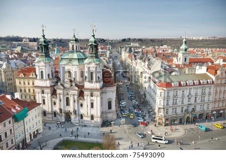 St. Nicholas Church Old Town Square, Prague, Czech Republic - stock photo